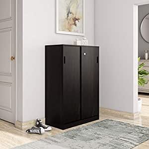 Amazon Brand - Solimo Aquilla Engineered Wood Particle Board Wenge Finish Storage Unit with Sliding Doors (Brown)
