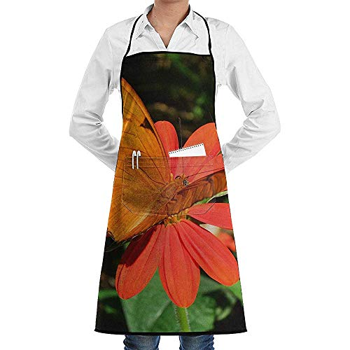 UQ Galaxy Kochschürze,Madame Butterfly Schürze Lace Unisex Chef verstellbare Lange vollschwarze Küche Schürzen Lätzchen mit Taschen zum Basteln Garten - Madama Butterfly Kostüm