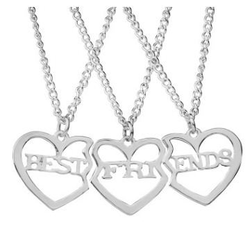 TBOP Imported Jewellery Best Friends Three-Piece Set of Girlfriends Heart-Shaped Pendant Silver Chain Nacklace for Women's