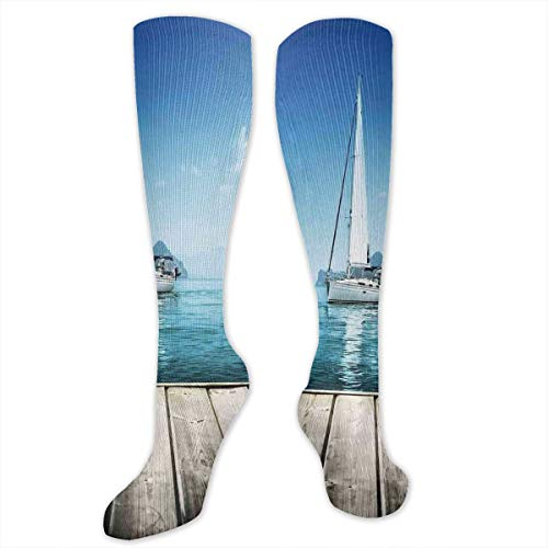 VVIANS Personalized Compression Socks,Yacht From Wooden Deck Horizon Serenity Seascape Leisure Aquatic Coastal Theme,Best Medical,for Running,Hiking,Varicose Veins,Circulation & Recovery -