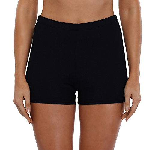 Große Casual Shorts (Attraco Plus Size Damen Große Größen Badeshorts Sommer Strand Hose Schwarz US Größe 22, EU Größe 54)