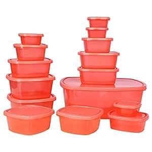 Ratan Plastics Plastic Container Set, 15-Pieces, Red