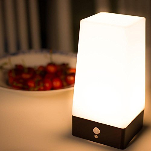 Price comparison product image niceEshop(TM) Wireless Motion Sensor LED Table Lamp,  Battery Powered Indoor Retro Night Light Warm White for Kids Room,  Bedroom,  Bedside,  Bathroom,  Hallway(Square)