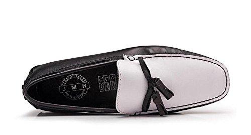 SHIXR Männer Slip-On Oxford Schuhe Sommer Hosen Schuhe Breathable Leder echte Fahrschuhen Weiche Leder Flats Casual Schuhe Black