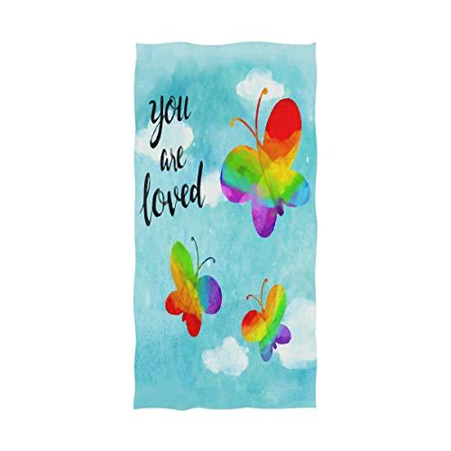 DXG1 Blue Butterfly LGBT Pride Rainbow Extra Large Jumbo Strandtuch Oversize Plüsch Cabana und Pool House Badetuch Waschlappen Decke 81 x 162,5 cm - Kapuzen-badetuch/2 Waschlappen