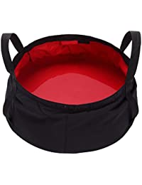 WINOMO 8.5L Collapsible Wash Basin Outdoor Basin Bucket For Camping Hiking Travelling Fishing Washing (Red)