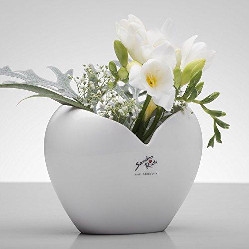Sandra Rich Porzellanvase Heart weiß herzförmig 11 cm Ø 14,5 x 8,5 cm