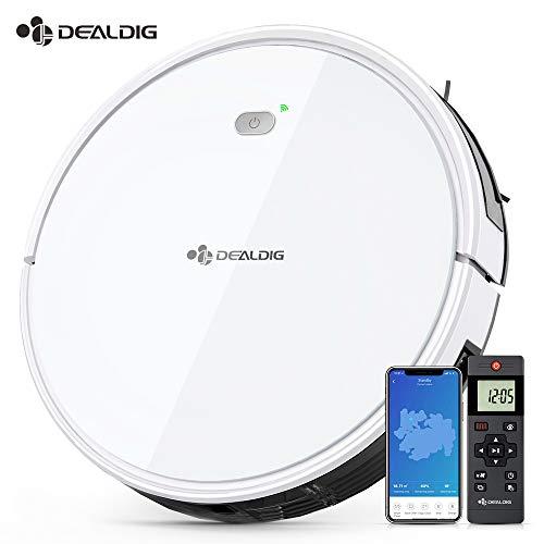 Aspirateur Robot Intelligent 1800Pa, DEALDIG Robot Aspirateur Connecté Wifi et Alexa, Aspiration...