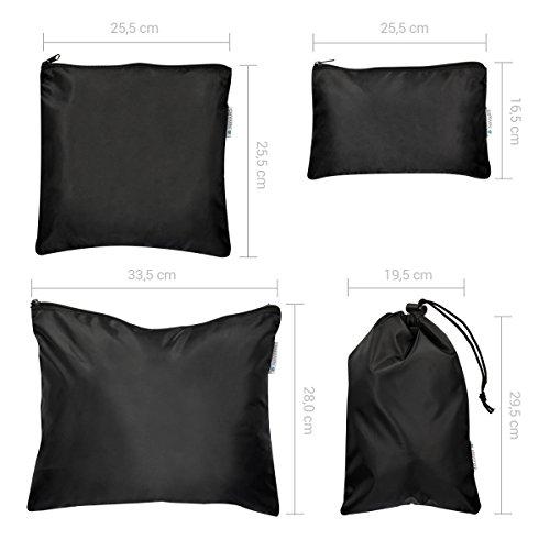 Navaris Kleidertaschen-Set 9-teilig 4x Packwürfel mit Schuhtasche, Wäschesack, Waschbeutel u.v.m. / Reisekoffer-Taschen Set in Dunkelblau - Kofferorganizer schwarz-blau