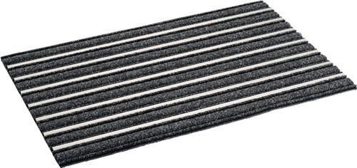 Felpudo fieltro Aguja con aluminio Rayas b.480X l.750mm aluminio L