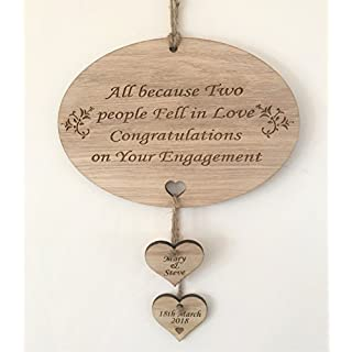 Top Balls PERSONALISED ALL BECAUSE TWO PEOPLE FELL IN LOVE ENGAGEMENT PLAQUE GIFT