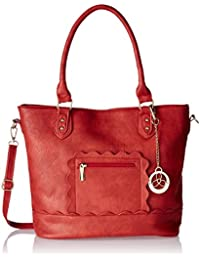Ladida Ladida Collection Women's Tote Bag With Pouch (Red) (Set Of 2) (2017-28 RED)