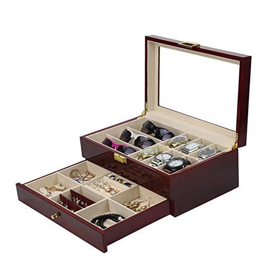 BAIJ Holz Uhrenbox Mit Schublade, 6 Slot Uhrenbox Organizer, Doppelschicht Uhrenspeicher Vitrine, Für Frauen Und Männer (6-fach-perlen-organizer)
