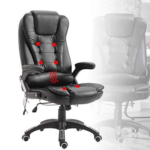 Froadp Ergonomischer Massagesessel Höhenverstellbarer Chef Drehstuhl - Schwarz Bürostuhl Schreibtischstuhl Gamingstuhl Tragfähigkeit 150KG