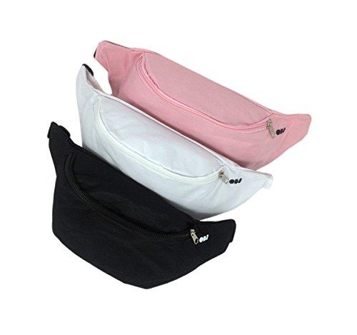 Gürteltasche für Damen und Herren, Bauchtasche im 3er Set in schwarz, weiß und rosa