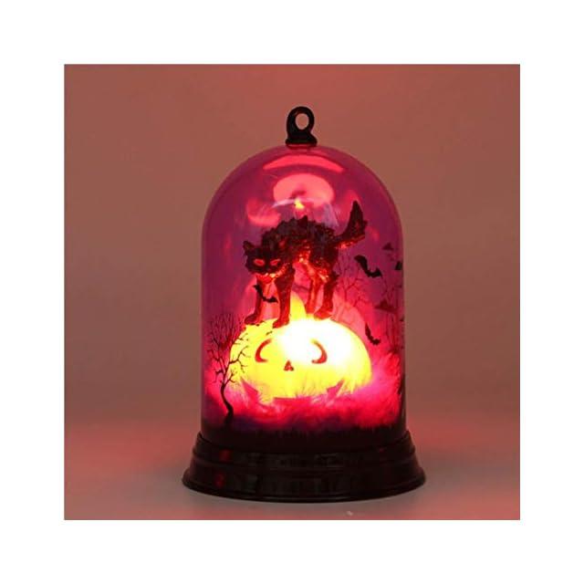Halloween Decoration Lanterne Ambree A Flamme Lampe Avec Pile