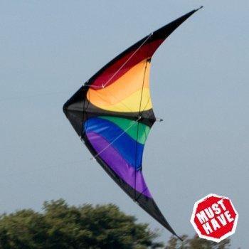CIM Lenkdrachen - NUNCHAKU Rainbow MUSTHAVE - für Kinder ab 8 Jahren - Abmessung: 140x70cm - inkl. Steuerleinen auf Rollen