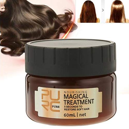 Tiefe Glättung Conditioner (Surenhap Glattes Haar Conditioner Mask Haarpflege Magical Hair Treatment 5 Sekunden für repariert Schaden Haarwurzel, 60ml)