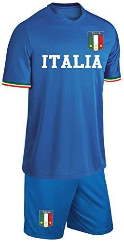 Italien Kinder Trikot Set Fußball Fan Zweiteiler Blau Größe 164 Größe 164