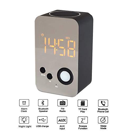 CR#ST Radiowecker mit Bluetooth Stereo Lautsprecher, 8 In 1 Digatal Wecker mit Nachtlicht, FM Radio, eingebaut Mikrofon Unterstützt FM/ MP3 Player/ 3,5 mm Aux/Micro SD-Schwarz