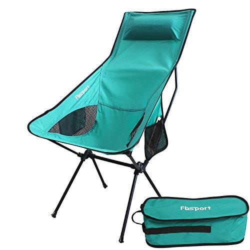 Fbsport Tragbare Ultraleichter Campingstuhl Klappstuhl / klein packbarer Campingstuhl Stuhl-Sitz für Angel Festival Picknick Grill-Strand im Freien mit Tragetasche (Large -Cyan)