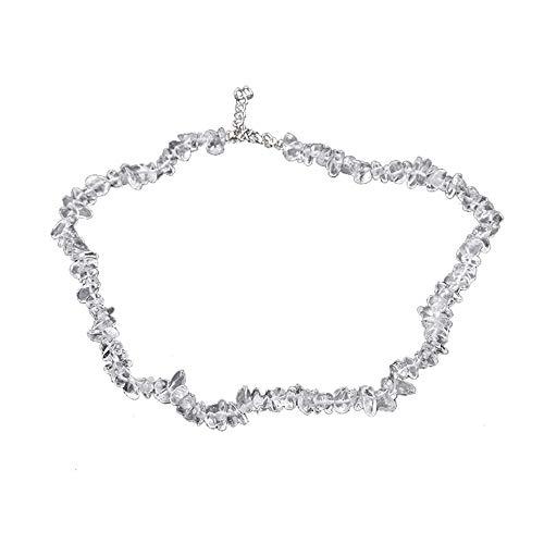 Winkey Halsketten für Frauen, handgefertigte gemischte natürliche Edelstein-Chip-Perlen, dehnbare Halskette, Heilung, Reiki-Halskette, Schmuck für Männer und Frauen, g, 1 - Silber Alabaster, Glas
