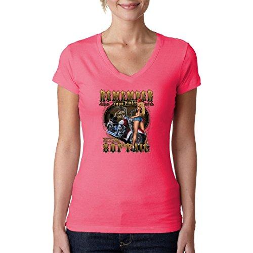 Biker Girlie V-Neck Shirt - Remember your first Softail by Im-Shirt Light-Pink