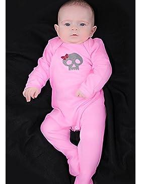 Totenkopf & Schleife Mädchen Alternative Baby Schlafanzug/Cool Gothic Outfit von Baby Moo Skull & corssbones Pink...