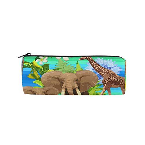 Ahomy Jungle - Estuche para lápices, diseño de elefantes y jirafa