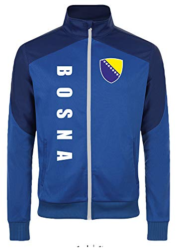 Bosnien Jacke Sweater Royal MOSPA Trikot Look Zip Nation Fussball Sport (L) -
