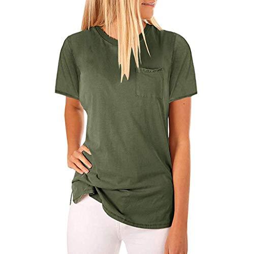 Pullover Sweatshirt für Damen,Kobay 2019 Halloween Heiligabend Weihnachten Frauen Sommer O Hals Kurzarm Bluse solide T Shirts mit Pocket Tops T Shirt Bluse Pullover -