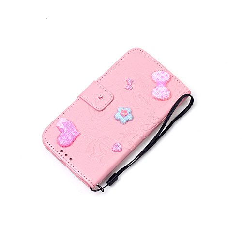 iPhone 7 Plus Hülle,iPhone 7 Plus Case,Cozy Hut ® Ultra Slim Flip Lederhülle / Ledertasche / Hülle / Case / Cover / Etui / Tasche für iPhone 7 Plus / 3D Diamant Strass Bling Glitzer Schmetterlings-Blu rosa