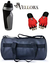 VELLORA Soft Leather Duffel Gym Bag (Black) With Penguin Sport Sipper, Gym Sipper Water Bottle Color Black Grey... - B07F2HTWD2