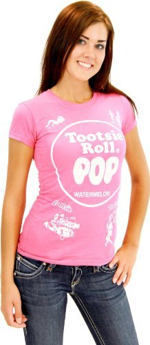 Tootsie Pop Kostüm Roll - Tootsie Roll Pop Assorted Watermelon Hot Pink Kostüm T-Shirt (Hot Pink) (Kinder Large)