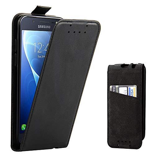 Galaxy J5 2016 Hülle, Supad Leder Tasche für Samsung Galaxy J5 2016 Handyhülle Flip Case Schutzhülle (Schwarz)