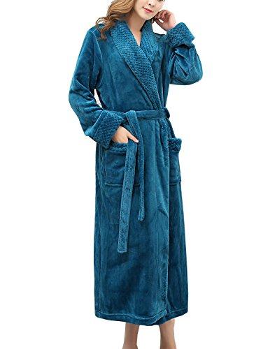 Bademantel frauen lang Nachtkleid Waffel Gewebt Wickel Kimono Robe Kimono (M, 4-Blau) (Baumwoll-terry-stoff-robe)