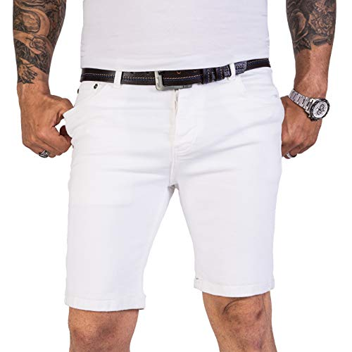 Rock Creek Herren Shorts Jeansshorts Denim Short Kurze Hose Herrenshorts Jeans Sommer Hose Stretch Bermuda Hose RC-2205 Weiß W32 - 5-pocket Rock