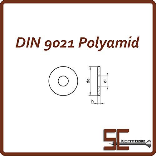 100 Stück Große Unterlegscheiben DIN 9021 Form A M4 4,3 Polyamid PA