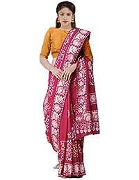 Unnati Silks Women's Batik Malmal Cotton Saree with Batik Prints and blouse piece(UNM32083+Red+Free Size)