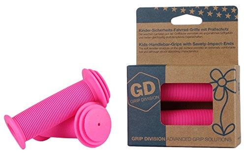 GD Grip Division Kinder-Fahrrad-Griffe mit Sicherheits-Prallschutz | Weiche Lenker-Griffe für Laufräder und Roller | Neon-Pink
