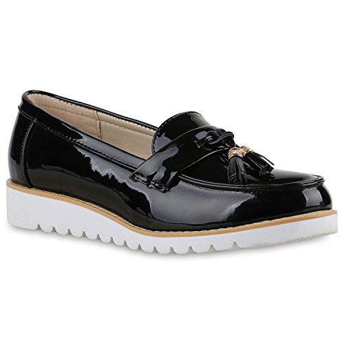 Stiefelparadies Damen Schuhe 136591 Slipper Black Lack 39 Flandell