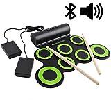 deAO Kit de Batería Electrónica con Bluetooth Modelo Plegable Portátil Conjunto Tapete Musical de Percusión Tambores, Platillos y Altavoces Incorporados Incluye Baquetas y Pedal