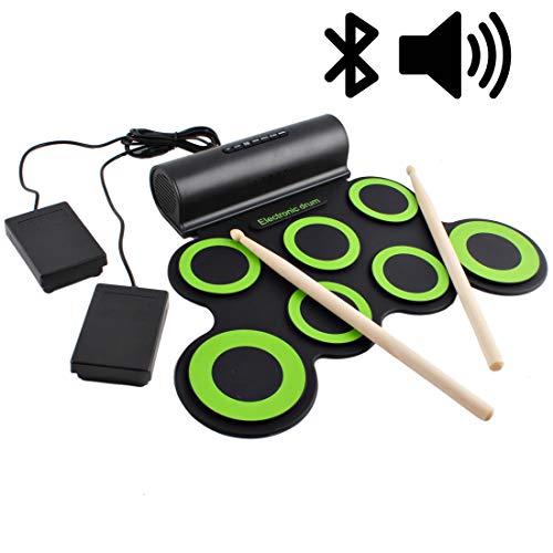 deAO Kit de Batería Electrónica con Bluetooth Modelo Plegable Portátil Conjunto Tapete...