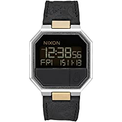 Black/Brass The Re-Run Leather Watch by Nixon