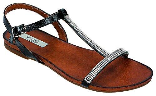 MICCOS Shoes–Sandales Femme Pantolette D. Sandales Noir - schwarz/strass