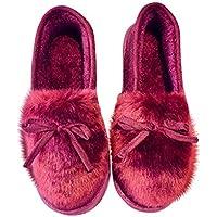 Zapatos de Felpa para Mujer Calientes y Suaves Botas de Nieve para el Invierno Zapatos Bajos y Casuales Botas de Todos los fósforos con moño Bowknot Decoración - Rojo Vino 38