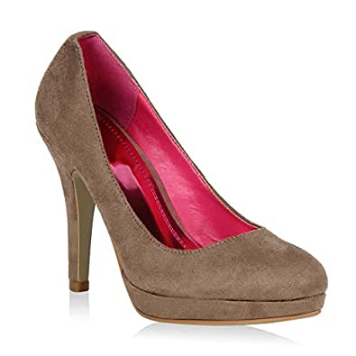 7757af2dce31f9 Damen Pumps Elegante High Heels Wildleder-Optik Schuhe Stilettos 46567  Khaki 36 Flandell