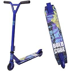 BOLDCUBE Trottinette Freestyle Pro 2 Roues - Résistante aux Acrobaties et Sauts - Rotation à 360 Degré - Barre Fixe - Pont léger en Aluminium - ABEC 7 Roulements - pour Adultes et Enfants