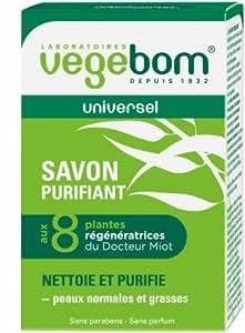 VEGEBOM Savon purifiant aux 8 plantes - Pain de 100 g