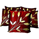 FabLooms 40.64 x 40.64 cm Leaf Design Cushion Covers (Maroon and Golden) - Set of 5